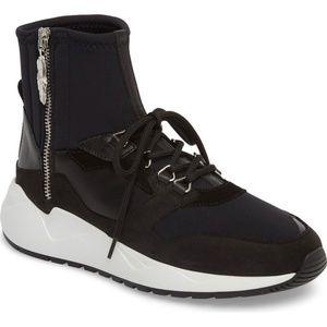 Buscemi Run1 Zip High-Top Leather Retro Sneaker